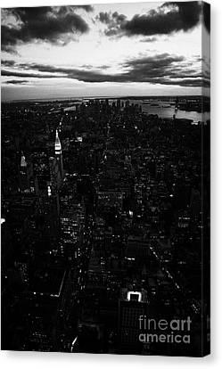 South Manhattan Skyline Night Evening New York City Canvas Print by Joe Fox
