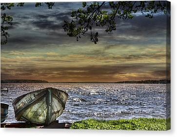 South Manistique Lake With Rowboat Canvas Print by Evie Carrier