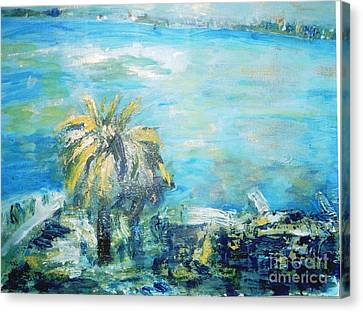 Canvas Print featuring the painting South Of France    Juan Les Pins by Fereshteh Stoecklein