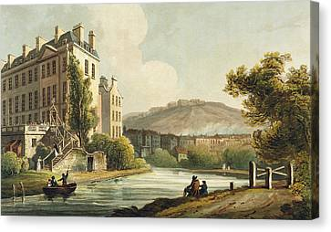 South Parade From Bath Illustrated Canvas Print by John Claude Nattes