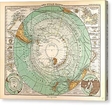 South Pole Map Gotha Justus Perthes 1872 Atlas Canvas Print