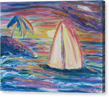 Canvas Print featuring the painting South Seas Sunset by Diane Pape