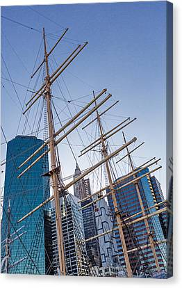 South Street Seaport Canvas Print - South Street Seaport And Financial District by Susan Candelario