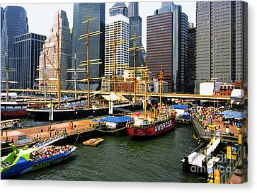 South Street Seaport -nyc Canvas Print by Linda  Parker