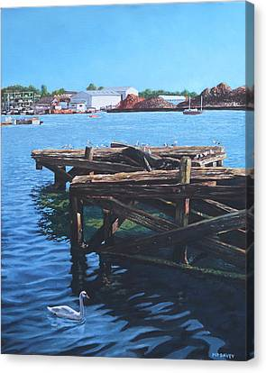 Southampton Northam River Itchen Old Jetty With Sea Birds Canvas Print by Martin Davey