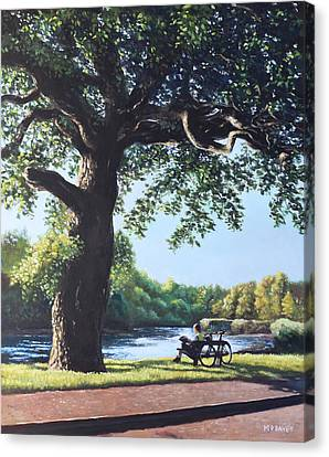 Southampton Riverside Park Oak Tree With Cyclist Canvas Print by Martin Davey