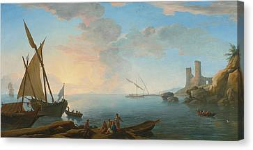 Southern Mediterranean Seascape With Boats And Figures At Sunset Canvas Print by Adrien Manglard