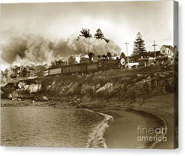 Southern Pacific Del Monte Passenger Train Pacific Grove Circa 1954 Canvas Print by California Views Mr Pat Hathaway Archives