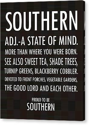 Southern State Of Mind Black And White Canvas Print