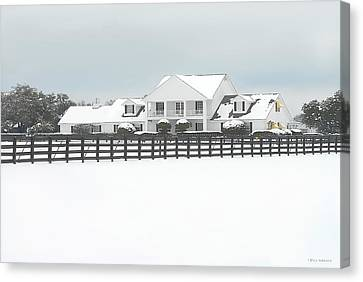 Canvas Print featuring the photograph Snow Covered Southfork Ranch   by Dyle   Warren