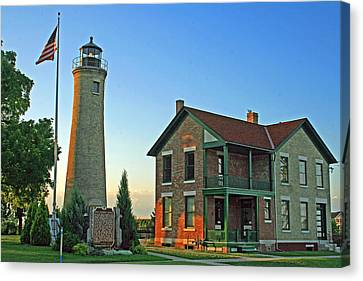 Canvas Print featuring the photograph Southport Lighthouse On Simmons Island by Kay Novy