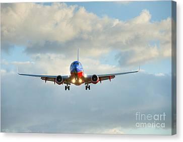 Southwest Airline Landing Gear Down Canvas Print by David Zanzinger