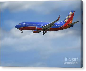 Southwest Airlines Jet Canvas Print by D Wallace