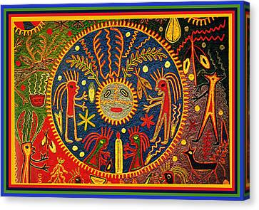 Southwest Huichol Del Sol Canvas Print by Vagabond Folk Art - Virginia Vivier