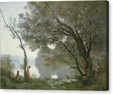 Souvenir De Mortefontaine Canvas Print by Jean Baptiste Camille Corot