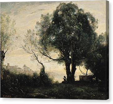 Souvenir Of Castel Gandolfo Oil On Canvas Canvas Print by Jean Baptiste Camille Corot