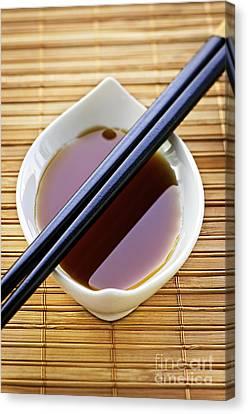 Soy Sauce With Chopsticks Canvas Print by Elena Elisseeva