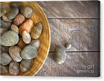 Spa Rocks In Wooden Bowl On Rustic Wood Canvas Print by Sandra Cunningham