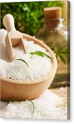 Spa Setting With Bath Salt Canvas Print by Mythja  Photography