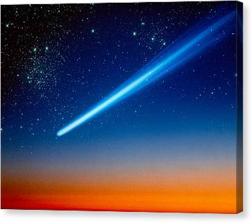 Space, Comet Speeding Across The Night Canvas Print by Panoramic Images
