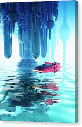 Reflecting Water Canvas Print - Space Craft And Futuristic City by Victor Habbick Visions