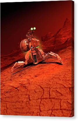 Space Craft Landing On A Red Planet Canvas Print