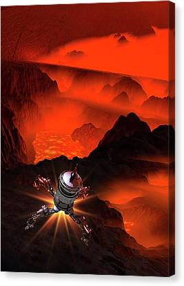 Outer Space Canvas Print - Space Craft Landing On Planet by Victor Habbick Visions