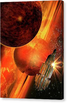 Space Craft Orbiting A Planet Canvas Print