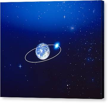 Space, Earth And Moon Concept Canvas Print by Panoramic Images