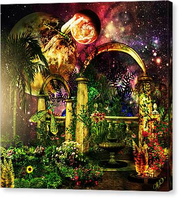 Canvas Print featuring the mixed media Space Garden by Ally  White