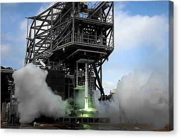 Space Launch System Testing Canvas Print by Nasa/msfc/david Olive