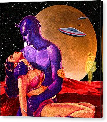 Canvas Print featuring the digital art Space Love by Sasha Keen