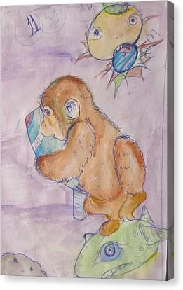 Space Monkey Canvas Print by Erik Franco