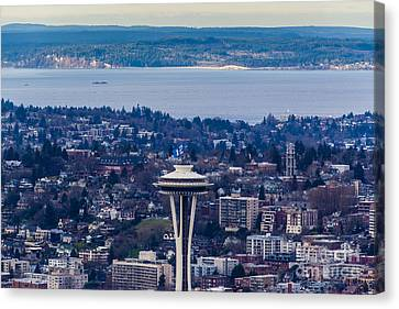 Space Needle 12th Man Seahawks Canvas Print by Mike Reid