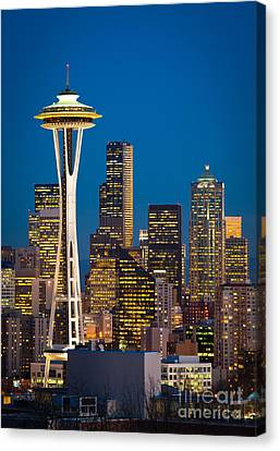 Space Needle Evening Canvas Print by Inge Johnsson