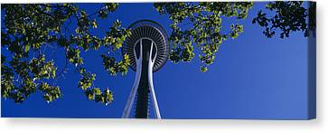 Space Needle Maple Trees Seattle Center Canvas Print by Panoramic Images
