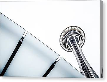 Space Needle On White Canvas Print by Wade Brooks