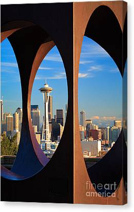 Space Needle View Canvas Print by Inge Johnsson