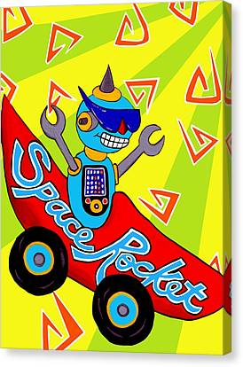 Space Rocket Racer Canvas Print by Lynnda Rakos
