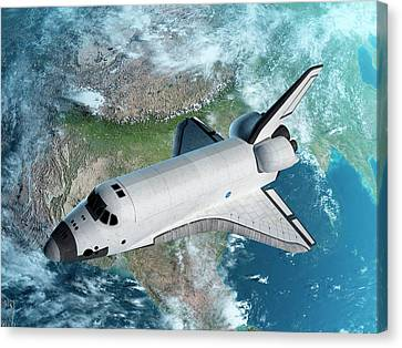 Space Shuttle Above Earth Canvas Print