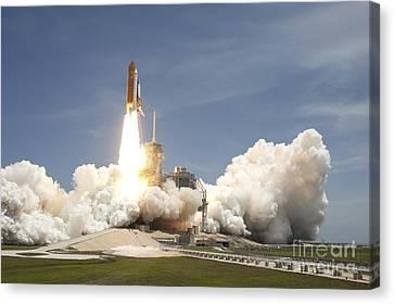 Space Shuttle Atlantis Rumbles Canvas Print by Stocktrek Images