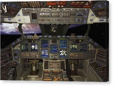 Space Shuttle Cockpit Canvas Print by Mountain Dreams