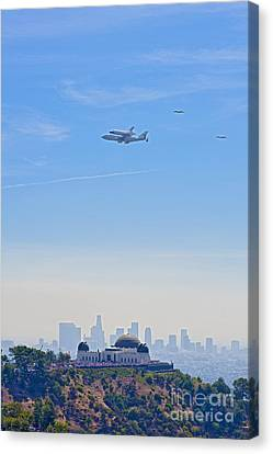 Space Shuttle Endeavour And Chase Planes Over The Griffith Observatory Canvas Print