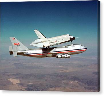Space Shuttle Enterprise Piggyback Flight Canvas Print by Nasa