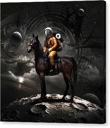 Moon Canvas Print - Space Tourist by Vitaliy Gladkiy