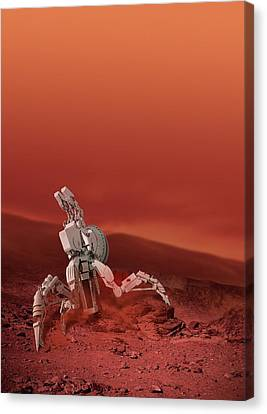 Space Vehicle On A Planet Canvas Print by Victor Habbick Visions