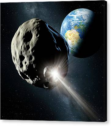 Planetoid Canvas Print - Spacecraft Colliding With Asteroid by Detlev Van Ravenswaay