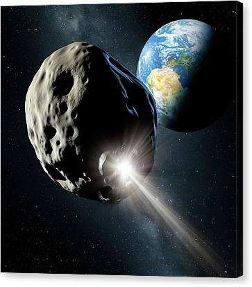 Spacecraft Colliding With Asteroid Canvas Print by Detlev Van Ravenswaay