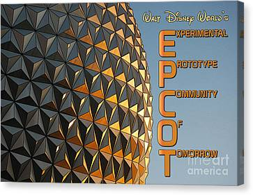 Spaceship Earth Sunset Profile Epcot Walt Disney World Poster Edges  Canvas Print