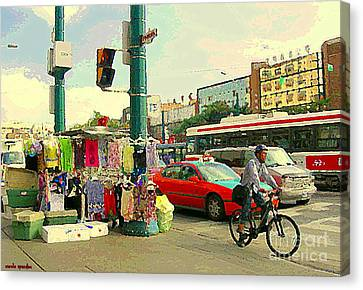 Spadina Street Vendor Chinatown Cyclists Cable Cars And Cabs Cityscapes Toronto Art Carole Spandau Canvas Print